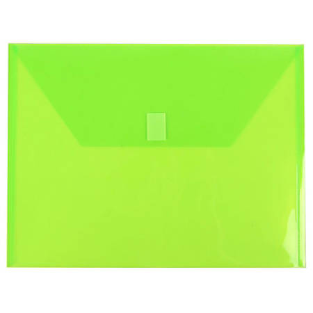 "JAM Paper® Plastic Booklet Envelopes With Hook & Loop Closure, Letter-Size, 9 3/4"" x 13"", Lime Green, Pack Of 12"