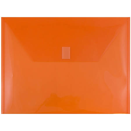 "JAM Paper® Plastic Booklet Envelopes With Hook & Loop Closure, Letter-Size, 9 3/4"" x 13"", Orange, Pack Of 12"