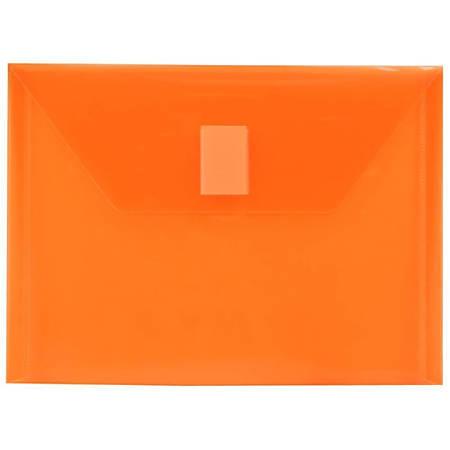 "JAM Paper® Plastic Booklet Envelopes With Hook-And-Loop Fastener, 5 1/2"" x 7 1/2"", Orange, Pack Of 12"