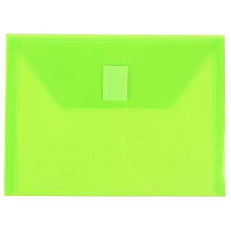 """JAM Paper® Plastic Booklet Envelopes With Hook-And-Loop Fastener, 5 1/2"""" x 7 1/2"""", Lime Green, Pack Of 12"""