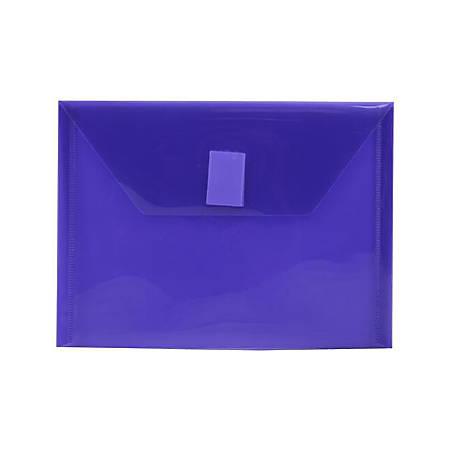 "JAM Paper® Plastic Booklet Envelopes With Hook-And-Loop Fastener, 5 1/2"" x 7 1/2"", Purple, Pack Of 12"