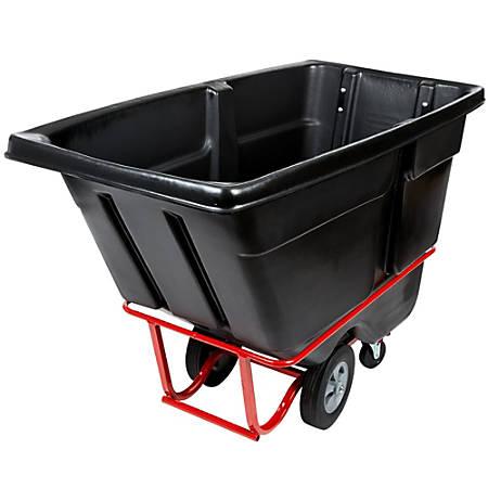 "Rubbermaid Commercial 1315 Tilt Truck, Standard Duty (Rotational Molded) - 211.34 gal Capacity - Wheels, Sturdy, Corrosion Resistance, Pitting Resistant - 43.8"" Height x 33.5"" Width - High-density Polyethylene (HDPE) - Black"