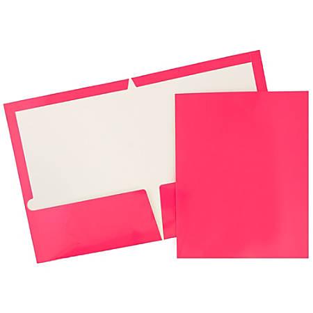 JAM Paper® Glossy 2-Pocket Presentation Folders, Hot Pink, Pack Of 6