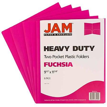 "JAM Paper® Heavy-Duty 2-Pocket Plastic Presentation Folders, 9"" x 12"", 1"" Capacity, Fuchsia Pink, Pack Of 6"