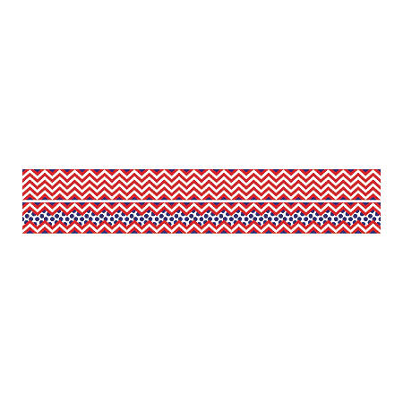 """Barker Creek Double-Sided Straight-Edge Border Strips, 3"""" x 35"""", Chevron Red, Pack Of 12"""