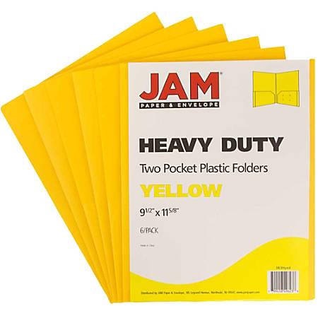 "JAM Paper® Heavy-Duty 2-Pocket Plastic Presentation Folders, 9"" x 12"", 1"" Capacity, Yellow, Pack Of 6"