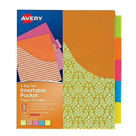 """Avery® Big Tab™ Insertable Plastic Dividers With Pockets, 5-Tab, 9 1/4"""" x 11 1/8"""", Student Designs, Multicolor"""
