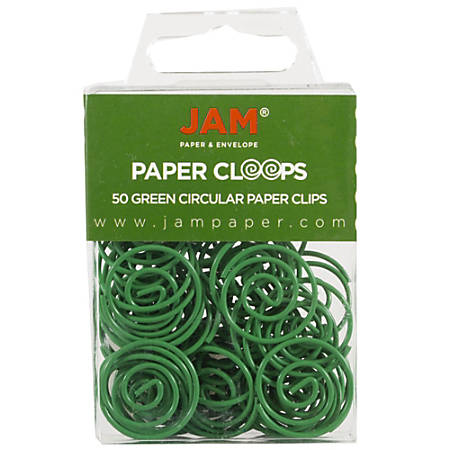 """JAM Paper® Paper Clips, Papercloops®, 1"""", 25-Sheet Capacity, Green, Pack Of 50"""