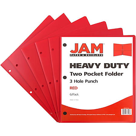 """JAM Paper® 3-Hole-Punched 2-Pocket Plastic Presentation Folders, 9"""" x 12"""", 1"""" Capacity, Red, Pack Of 6"""