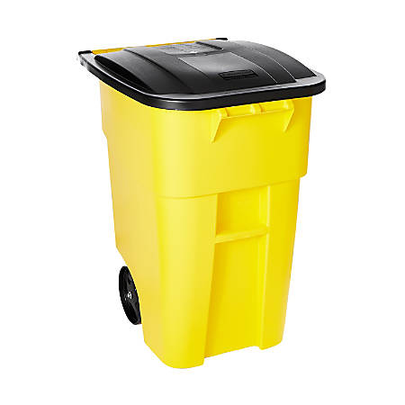 Rubbermaid® Brute Square Plastic Rollout Container, 50-Gallons, Yellow
