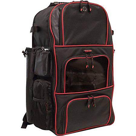 Mobile Edge Deluxe Carrying Case (Backpack) Baseball, Softball - Black, Red