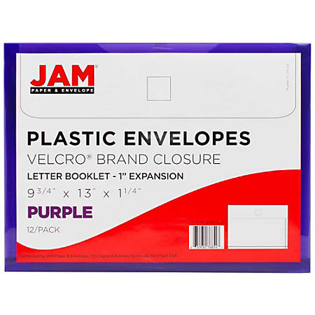 "JAM Paper® Plastic Booklet Envelopes With Hook & Loop Closure, Letter-Size, 9 3/4"" x 13"", Purple, Pack Of 12"