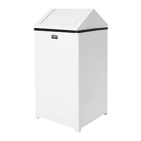 Rubbermaid® Wastemaster Square Steel Swing-Top Refuse Container, 29 Gallons, White
