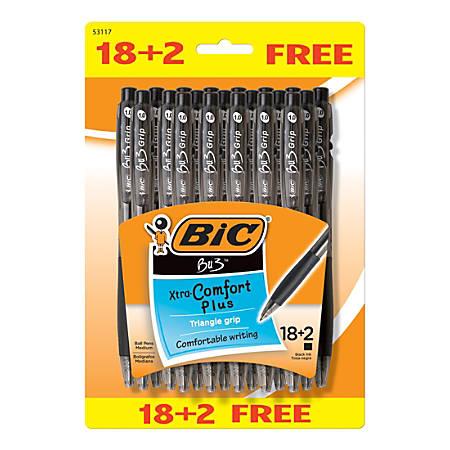 BIC® BU3 Grip RT Ball Pens, Medium Point, 1.0 mm, Black Barrel, Black Ink, Pack Of 20 Pens