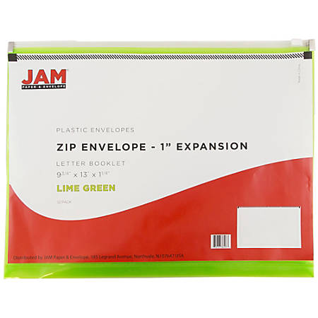 """JAM Paper® Plastic Envelopes With Zipper Closure, 9 3/4"""" x 13"""", Lime Green, Pack Of 12"""