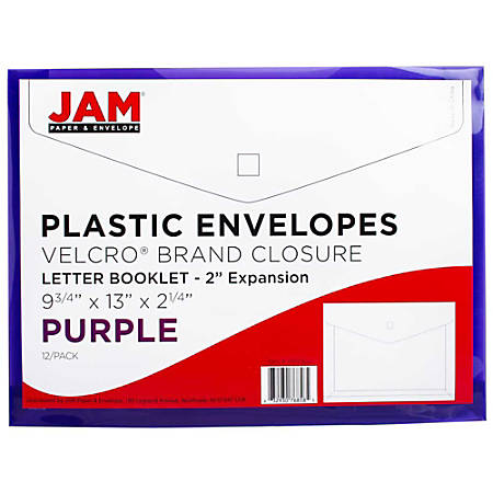 "JAM Paper® Plastic Booklet Envelopes With Hook & Loop Closure, Letter-Size, 9 3/4"" x 13"", Purple, Pack Of 12"