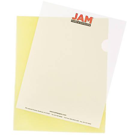 "JAM Paper® Plastic Sleeves, 9"" x 11 1/2"", 1"" Capacity, Yellow, Pack Of 12"