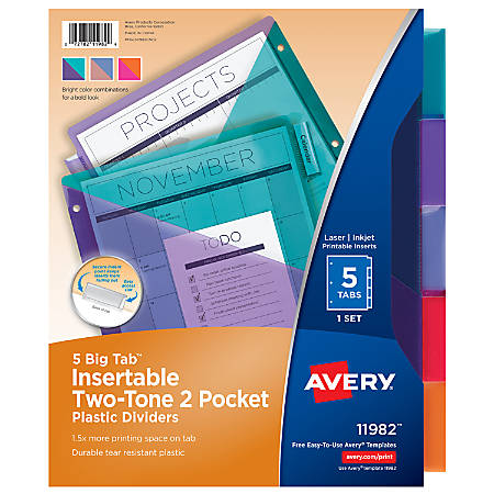 Avery® Big Tab™ Insertable Two-Tone 2 Pocket Plastic Dividers, 5-Tab, Multicolor