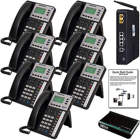 XBLUE® X25 System Bundle With 7 X3030 IP Phones, Charcoal