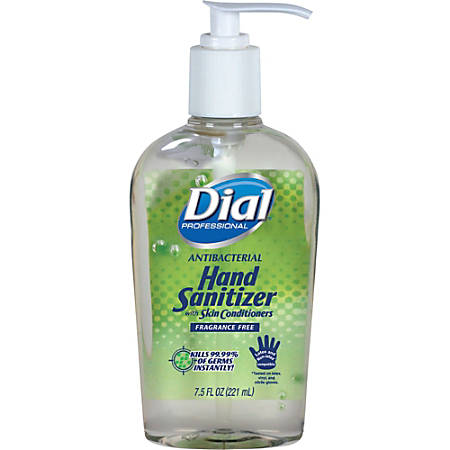 Dial Hand Sanitizer - 7.50 oz - Pump Bottle Dispenser - Kill Germs, Bacteria Remover, Mold Remover, Yeast Remover - Hand - Moisturizing, Hypoallergenic, Fragrance-free, Dye-free, Anti-bacterial - 12 / Carton