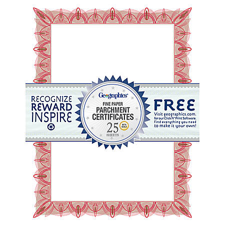 "Geographics® 30% Recycled Blank Parchment Certificates, 8 1/2"" x 11"", Unique Red, Pack Of 25"