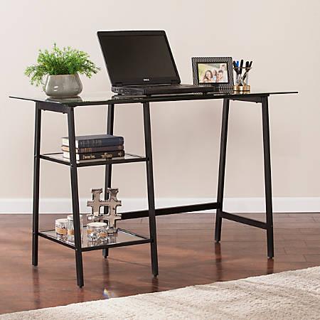 Southern Enterprises Avery Metal Glass Sawhorse A-Frame Writing Desk, Black