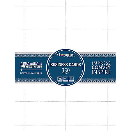 """Geographics Inkjet, Laser Print Business Card - 3 1/2"""" x 2"""" - 65 lb Basis Weight - Recycled - 30% Recycled Content - 350 / Pack - White"""