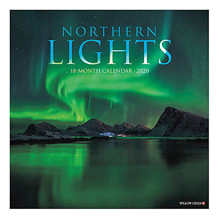 "Willow Creek Press Scenic Monthly Wall Calendar, 12"" x 12"", Northern Lights, January To December 2020"