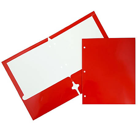 JAM Paper® Glossy 3-Hole-Punched 2-Pocket Presentation Folders, Red, Pack of 6