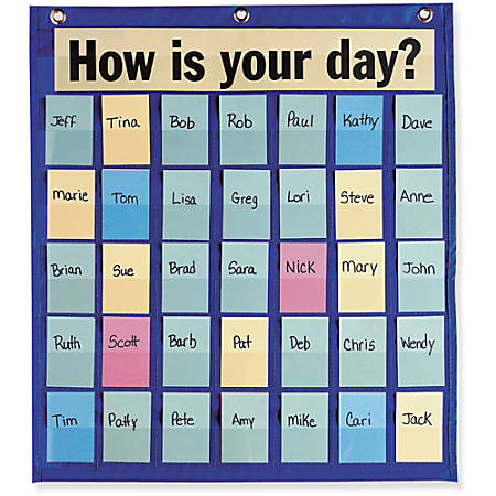 """Pacon Behavioral Pocket Chart - 18.5"""" x 9.5"""" - 1 Chart - 35 Pockets - 180 Color-Coded Cards"""