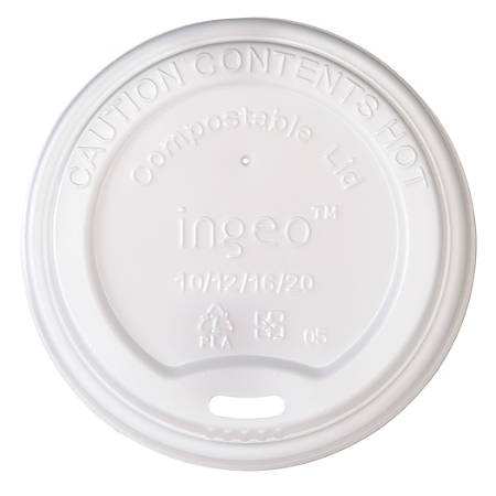 Highmark® Compostable Hot Cup Lids, 10-20 Oz, Translucent White, Pack Of 50