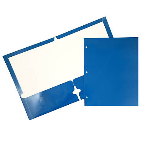"JAM Paper® Glossy 3-Hole-Punched 2-Pocket Presentation Folders, 9 1/2"" x 11 1/2"", 1"" Capacity, Blue, Pack Of 6"