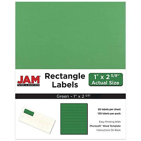 "JAM Paper® Mailing Address Labels, 302725772, 2 5/8"" x 1"", Green, Pack Of 120"