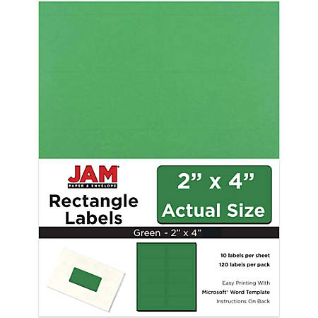 "JAM Paper® Rectangular Mailing Address Labels, 302725774, 2"" x 4"", Green, Pack Of 120"