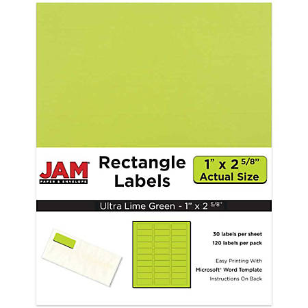 """JAM Paper® Mailing Address Labels, 302725778, 2 5/8"""" x 1"""", Lime Green, Pack Of 120"""