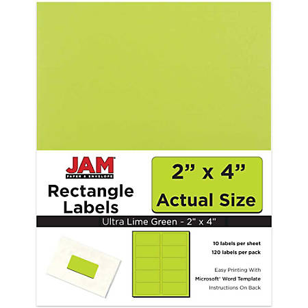 "JAM Paper® Rectangular Mailing Address Labels, 302724405, 2"" x 4"", Lime Green, Pack Of 120"