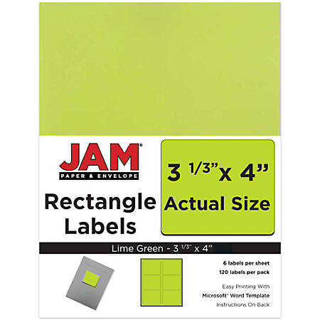 "JAM Paper® Mailing Address Labels, 302725780, 4"" x 3 5/16"", Lime Green, Pack Of 120"