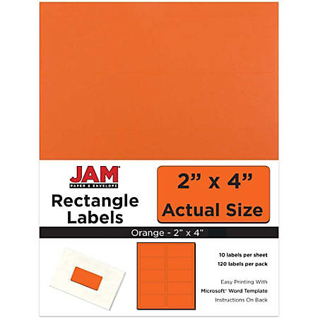 "JAM Paper® Rectangular Mailing Address Labels, 302725784, 2"" x 4"", Orange, Pack Of 120"