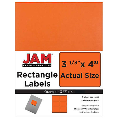 "JAM Paper® Mailing Address Labels, 302725786, 4"" x 3 5/16"", Orange, Pack Of 120"