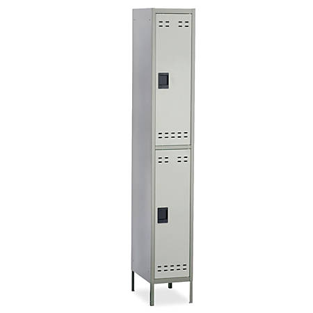 "Safco® Double-Tier Two-Tone Locker With Legs, 78""H x 18""W x 12""D, Gray"