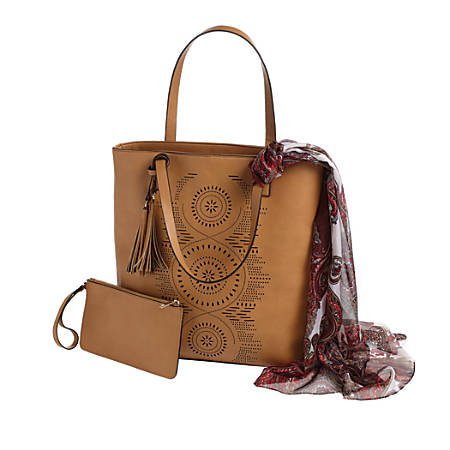 """GNBI Luxe Tote With Wristlet And Scarf, 15""""H x 14 1/2""""W x 4 1/2""""D, Brown"""