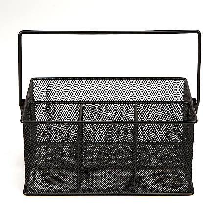 "Mind Reader 4-Compartment Mesh Organizer Basket With Handle, 4 1/2""H x 9 1/2""W x 6 3/8""D, Black"