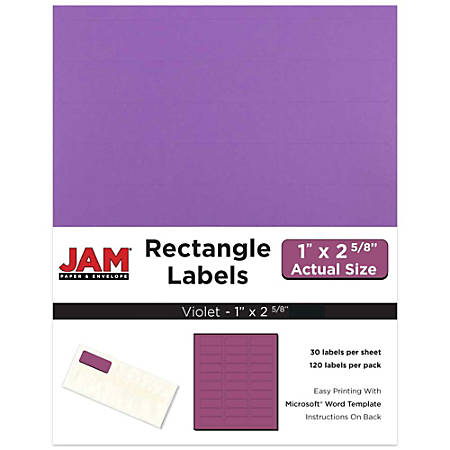 """JAM Paper® Mailing Address Labels, 302725788, 2 5/8"""" x 1"""", Purple, Pack Of 120"""