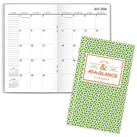"""AT-A-GLANCE® Badge Geo Academic 24-Month Weekly/Monthly Pocket Planner, 3 5/8"""" x 6 1/16"""", Multicolor, July 2018 to June 2020"""