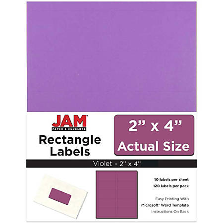 "JAM Paper® Rectangular Mailing Address Labels, 302725790, 2"" x 4"", Violet Purple, Pack Of 120"
