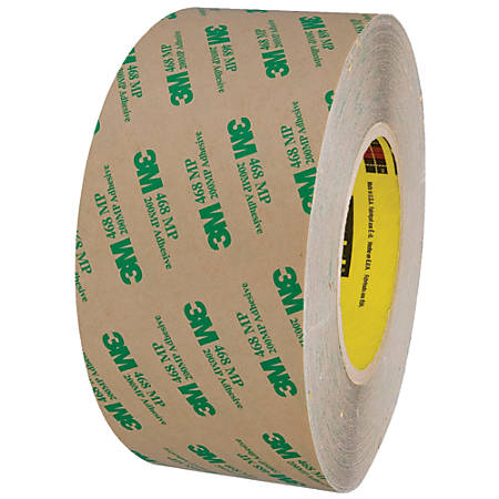 """3M™ 468MP Adhesive Transfer Tape, 3"""" Core, 3"""" x 60 Yd., Clear"""