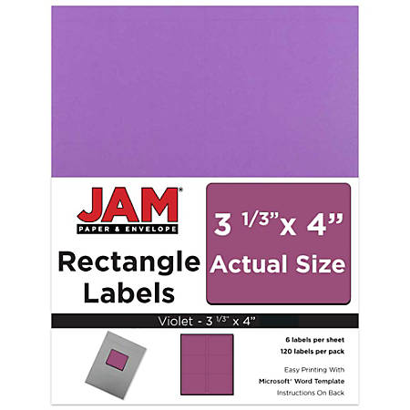 "JAM Paper® Mailing Address Labels, 302725792, 4"" x 3 5/16"", Purple, Pack Of 120"