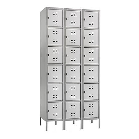 """Safco® Six-Tier Two-Tone 3-Column Locker With Legs, 78""""H x 36""""W x 18""""D, Gray"""