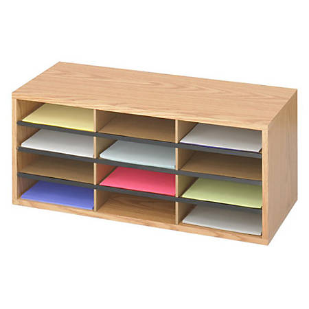 "Safco Laminte Literature Organizer - 12 Compartment(s) - Compartment Size 2.50"" x 9"" x 11.75"" - 12"" Height x 29"" Width x 12"" Depth - Floor - Medium Oak - Particleboard, Fiberboard - 1Each"