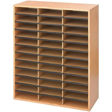"Safco Laminte Literature Organizer - 36 Compartment(s) - Compartment Size 2.50"" x 9"" x 11.75"" - 34.5"" Height x 29"" Width x 12"" Depth - Floor - Medium Oak - Particleboard - 1Each"
